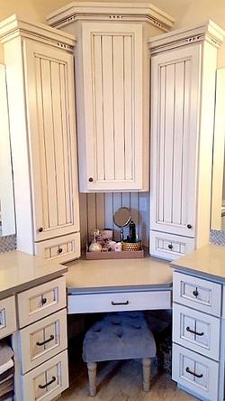 Utah custom cabinets white bathroom vanity make up desk