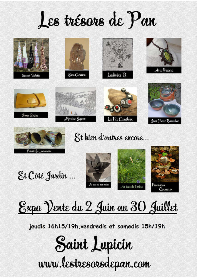 """Exposition en juin et juillet à la galerie """"Les Trésors de Pan"""""""