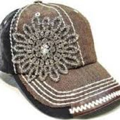 Brown Natural Two Tone Bling Bling Hat
