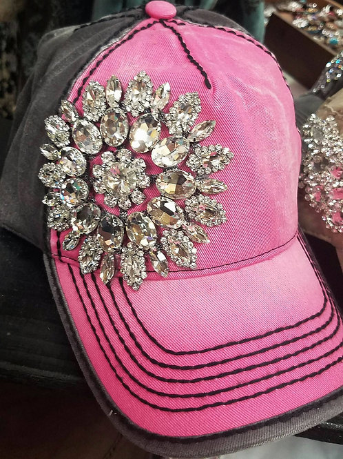 Fuchsia/Charcoal Bling Hat