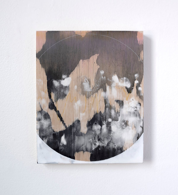 An abstract painting comprised fo geometric shapes, white pink and black colors with exposed woodgrain