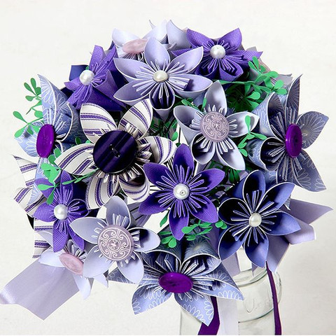 Purple Paper Flower Bouquet
