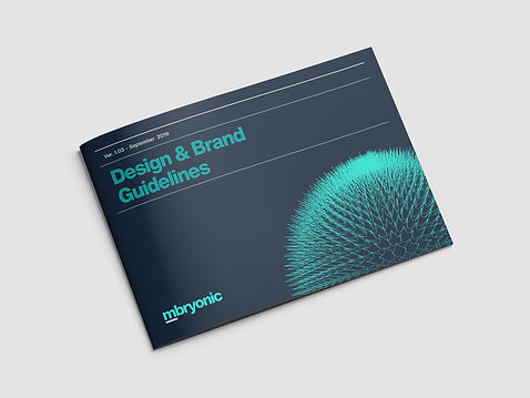 Front cover example of company mbryonic brand guidelines