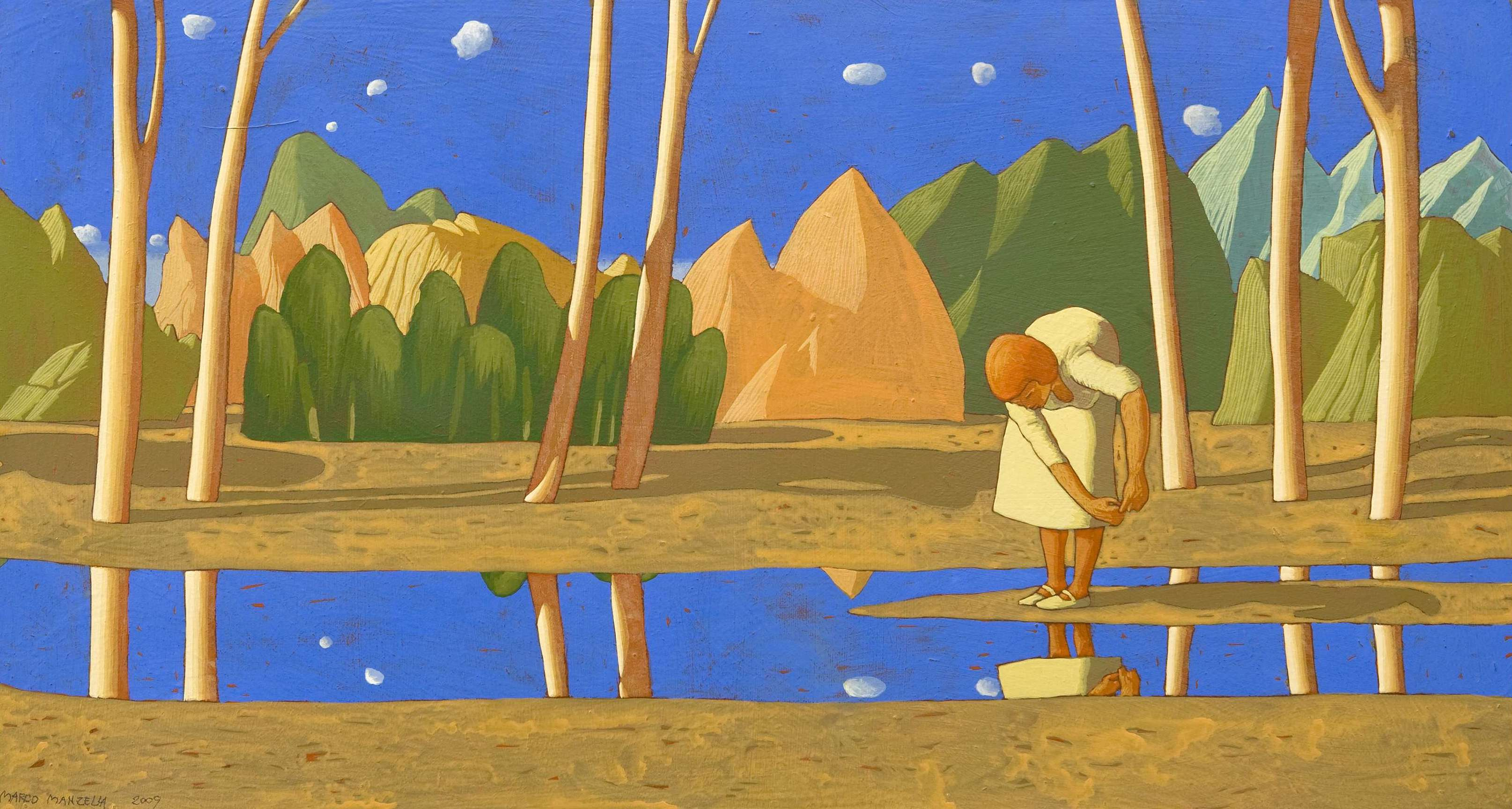 Paesaggio con ragazza che finge di tuffarsi in un fiume