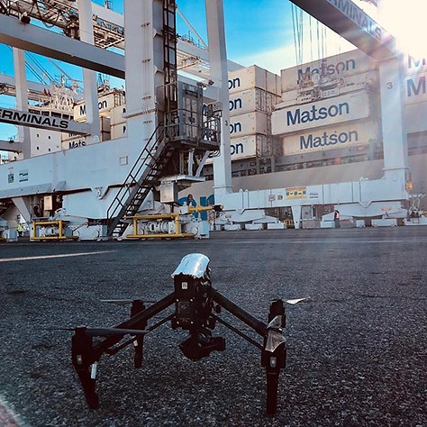 Big drone job in the port for Matson car