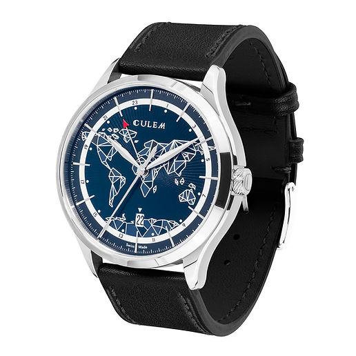 Culem watches luxury dual time travel gmt independent watchmaker kickstarter frame blue side 2