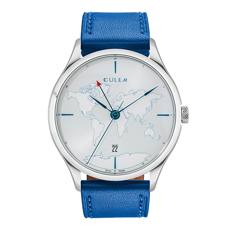 Culem watches luxury dual time travel gmt independent watchmaker kickstarter lights blue