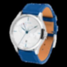 Culem watches luxury dual time travel gmt independent watchmaker kickstarter blue lights side view