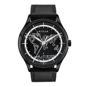 Culem watches luxury dual time travel gmt independent watchmaker kickstarter black frame