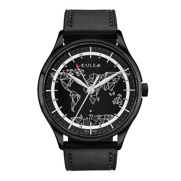 Culem watches luxury dual time travel gmt independent watchmaker kickstarter black front view
