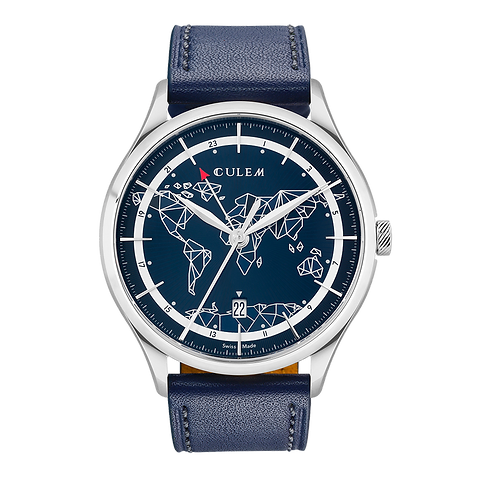 Culem watches luxury dual time travel gmt independent watchmaker kickstarter blue frame.png