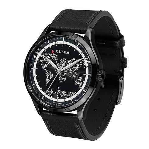 Culem watches luxury dual time travel gmt independent watchmaker kickstarter frame black side 1