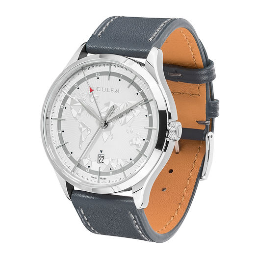 Culem watches luxury dual time travel gmt independent watchmaker kickstarter grey frame side 2