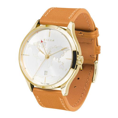 Culem watches luxury dual time travel gmt independent watchmaker kickstarter gold lights 1 side