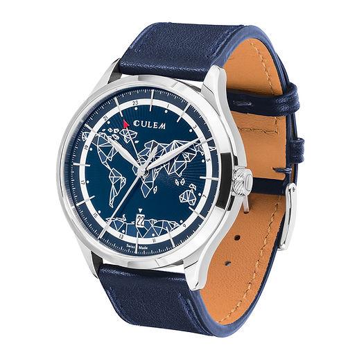 Culem watches luxury dual time travel gmt independent watchmaker kickstarter frame side 1 blue