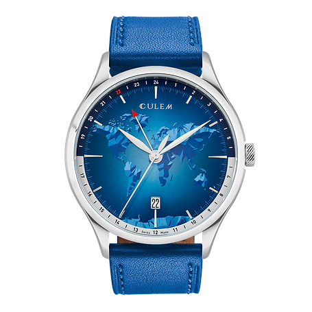 Culem watches luxury dual time travel gmt independent watchmaker kickstarter portal blue