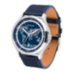 Culem watches luxury dual time travel gmt independent watchmaker kickstarter blue frame side view