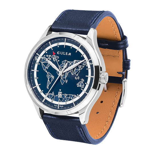 Culem watches luxury dual time travel gmt independent watchmaker kickstarter blue frame