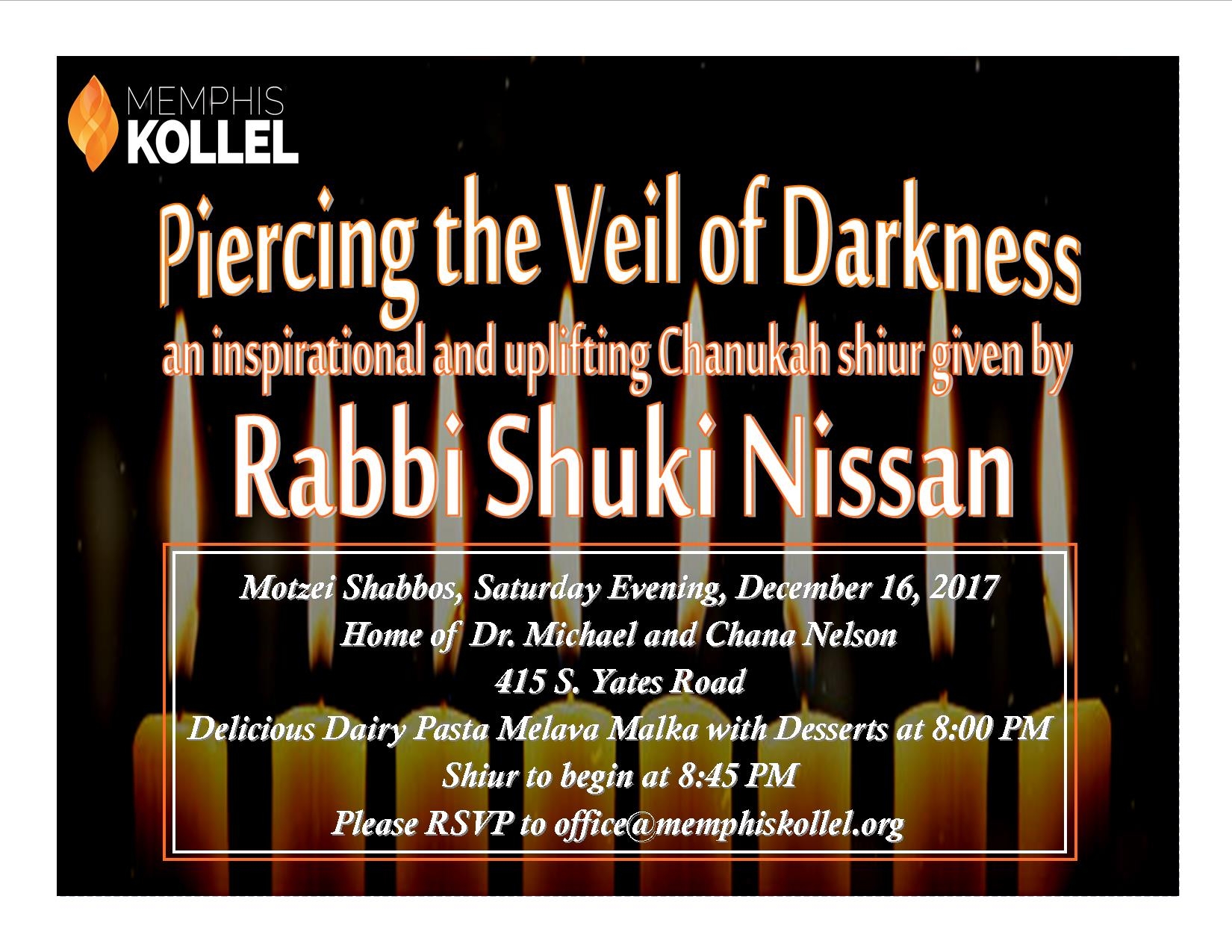 Chanukah Shiur and Melava Malka