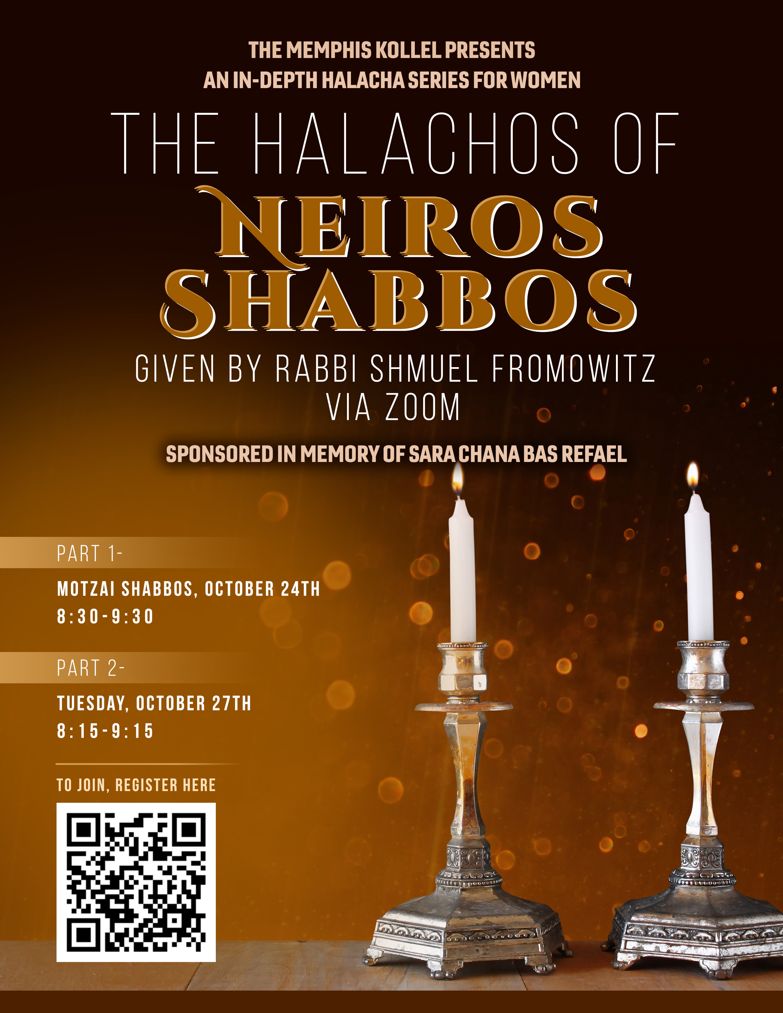 NS neiros shabbos flyer
