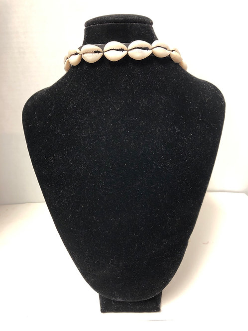 Cowrie Shell and Leather Choker