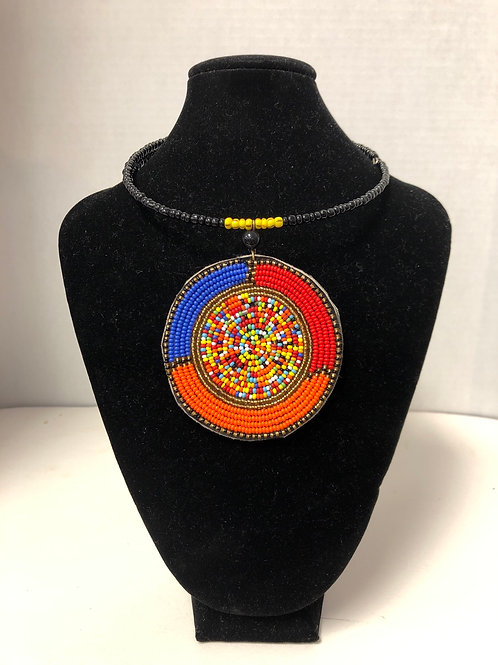 African Breaded Tri-color Massai Pendant Necklace and Earring Set
