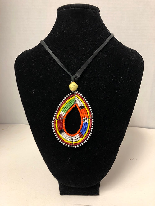 Massai Beaded Teardrop-shaped Necklace with Leather Cord