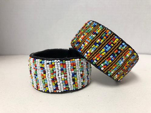 Massai Beaded Bracelet Wrap Around (Multicolor; Gold)