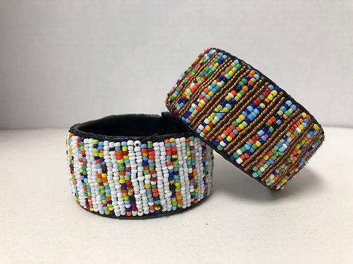 Massai Beaded Bracelet Wrap Around (Multicolor; White)