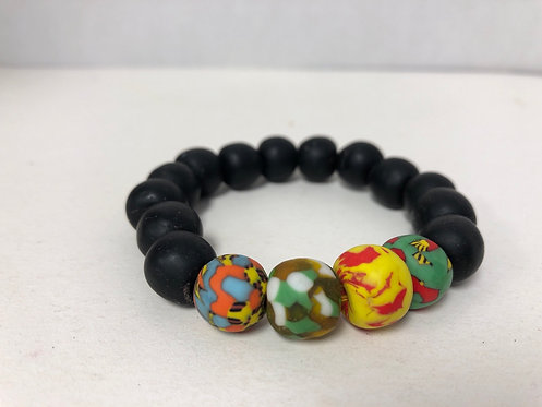 Black and Multicolor Ghanian Recycled Glass Bead Bracelet