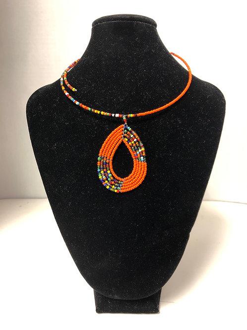 Kenyan Massai Tear-Drop Choker (Orange)