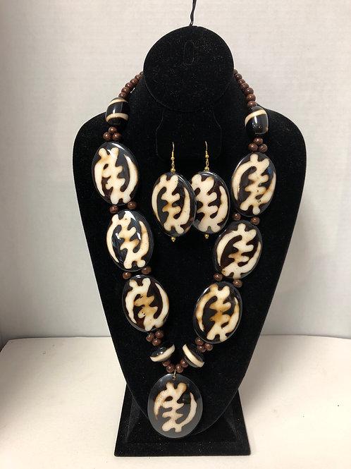 Bone Necklace & matching Earrings