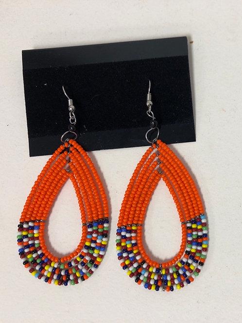 Massai Beaded Tear drop Earrings (Orange)