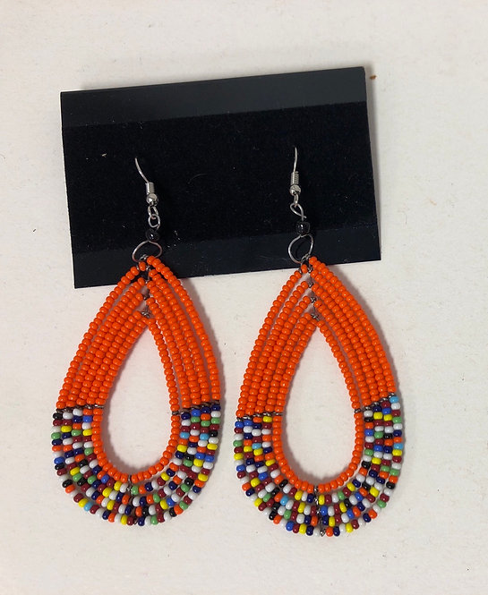 Massai Beaded Tear drop Earrings (Orange)