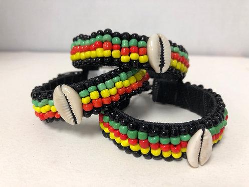 Rasta Bead Cowrie Shell Bracelet