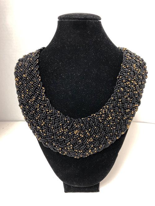 Black Massai Beaded-twist Necklace Set