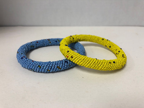 African Massai Bangle Bracelet (Blue)