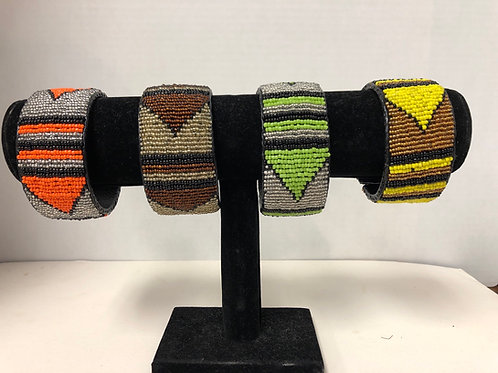 Massai Beaded Bracelet Wrap Around (Orange)