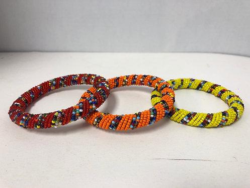 African Massai Bangle Bracelet (Yellow)