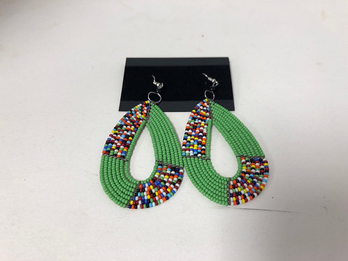 Massai Beaded Tear drop Earrings (Green)