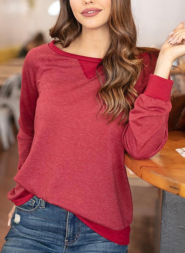 Heather Ruby Slouch Pullover