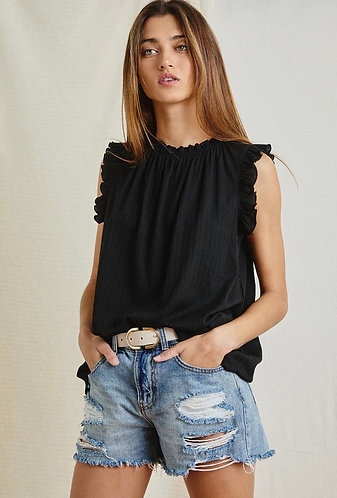 Ruffle Neck and Sleeve Top