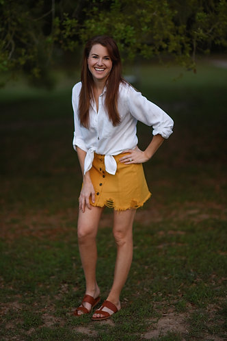 Mustard Denim Skirt
