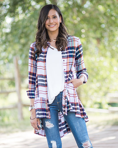 Ruffle Plaid Top