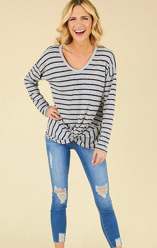 Striped Knot Top - Navy/Heather Grey