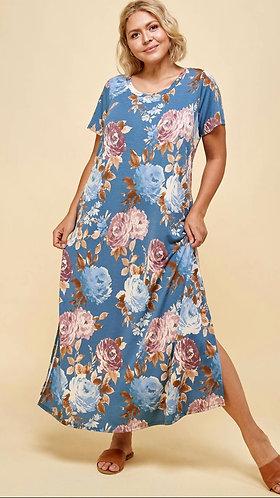 Pretty in Floral T-Shirt Maxi Dress