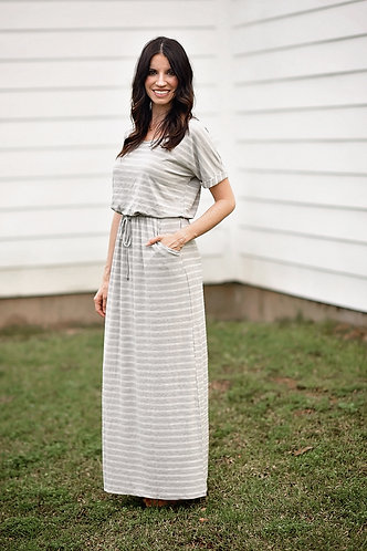 Gray T-Shirt Maxi Dress (drawstring)