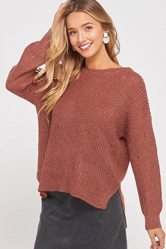 Distressed Brick Sweater