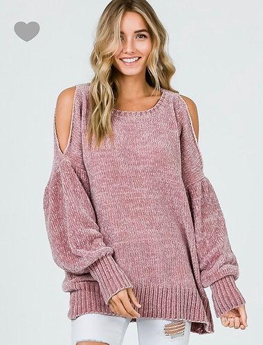 Mauve Cold Shoulder Chenille Sweater