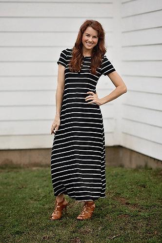 White and Black Striped T-Shirt Dress
